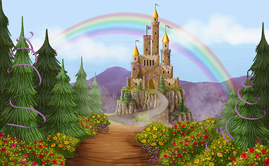 Princess wall murals make your little girl 39 s room a for Fairy castle mural