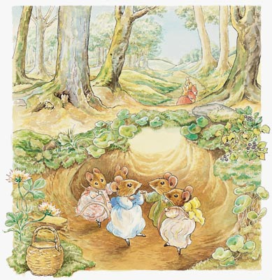 The mouse party mural beatrix potter murals your way for Beatrix potter mural wallpaper