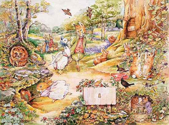 Country woodlands mural beatrix potter murals your way for Beatrix potter mural wallpaper
