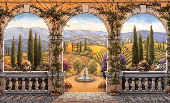 Tuscan villa mural for Amazon wall mural