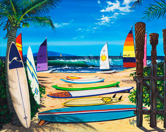 Surfing wall murals the ultimate surf wallpaper for Beach scene mural wallpaper