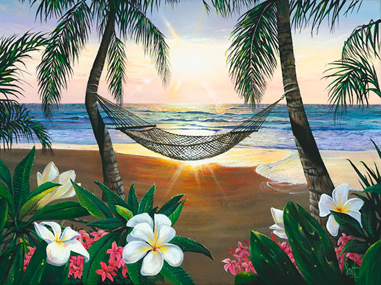 Twilight hammock mural for Beach mural painting