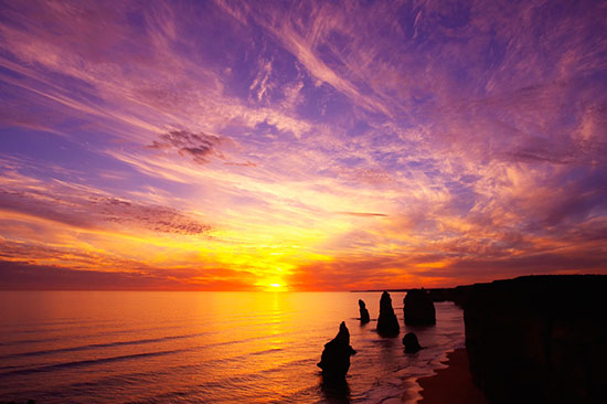 Sunset twelve apostles port campbell mural for Beach sunset wall mural