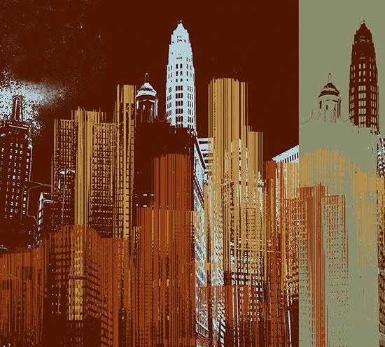 City landscape scenes murals murals your way for Cityscape mural