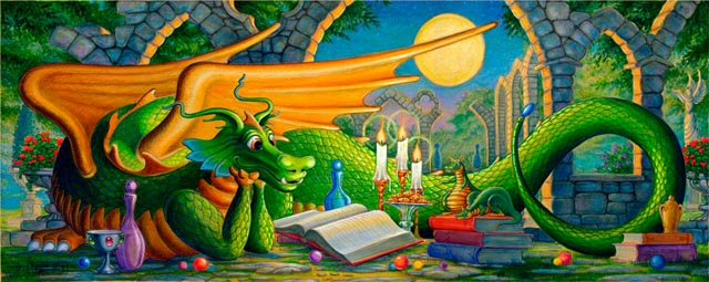 Friendly dragons murals murals your way for Dragon mural wallpaper