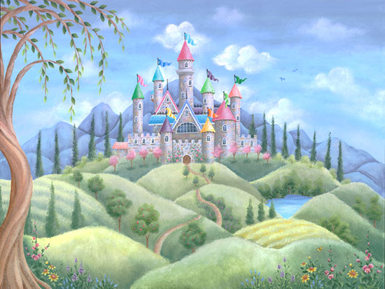 Princess wall murals make your little girl 39 s room a for Castle mural kids room