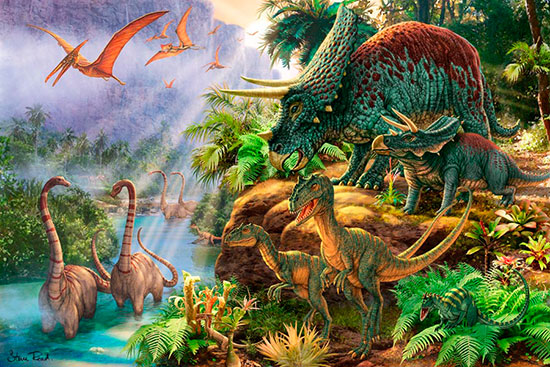 Dinosaur valley mural steve read murals your way for Dinosaur wall mural