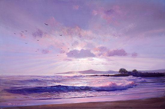 Sunset glory mural for Beach sunset mural