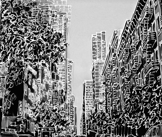 New york city street squiggle mural for City scape mural