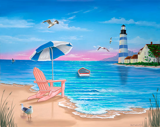 Ocean wall decals scenic beach mural backdrop for for Beach scene mural