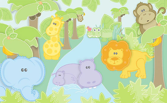 Animal murals for nurseries huge collection jungle for Baby jungle mural